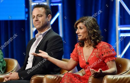 "Sarayu Blue, Paul Adelstein. Sarayu Blue, right, and Paul Adelstein, cast members in the NBC Universal television series ""I Feel Bad,"" take part in a q&a session on the show during the 2018 Television Critics Association Summer Press Tour, in Beverly Hills, Calif"