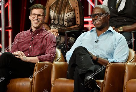 """Andy Samberg, Andre Braugher. Andy Samberg, left, and Andre Braugher, cast members in the NBC Universal television series """"Brooklyn Nine-Nine,"""" take part in a q&a session during the 2018 Television Critics Association Summer Press Tour, in Beverly Hills, Calif"""