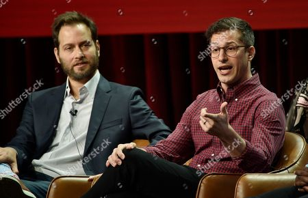 """Andy Samberg, Dan Goor. Andy Samberg, right, a cast member in the NBC Universal television series """"Brooklyn Nine-Nine,"""" answers a reporter's question as executive producer Dan Goor looks on during the 2018 Television Critics Association Summer Press Tour, in Beverly Hills, Calif"""