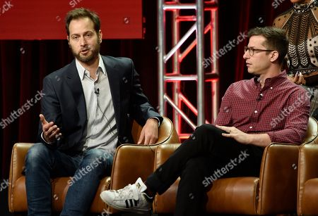 """Dan Goor, Andy Samberg. Dan Goor, left, executive producer of the NBC Universal television series """"Brooklyn Nine-Nine,"""" answers a question as cast member Andy Samberg looks on during the 2018 Television Critics Association Summer Press Tour, in Beverly Hills, Calif"""