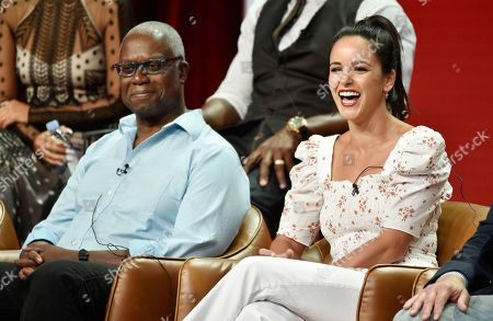"""Melissa Fumero, Andre Braugher. Melissa Fumero, right, and Andrea Braugher, cast members in the NBC Universal television series """"Brooklyn Nine-Nine,"""" take part in a q&a session during the 2018 Television Critics Association Summer Press Tour, in Beverly Hills, Calif"""