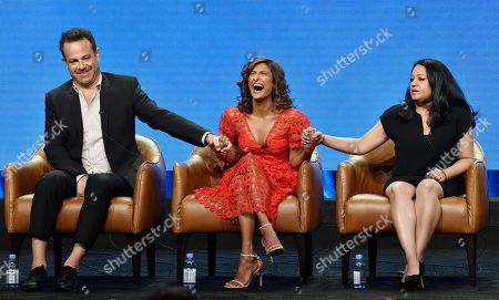 """Paul Adelstein, Sarayu Blue, Aseem Batra. Aseem Batra, right, executive producer of the NBC Universal television series """"I Feel Bad,"""" joins hands with cast members Paul Adelstein, left, and Sarayu Blue onstage during the 2018 Television Critics Association Summer Press Tour, in Beverly Hills, Calif"""