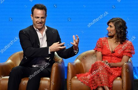 "Paul Adelstein, Sarayu Blue. Paul Adelstein, left, a cast member in the NBC Universal television series ""I Feel Bad,"" answers a question as fellow cast member Sarayu Blue looks on during the 2018 Television Critics Association Summer Press Tour, in Beverly Hills, Calif"