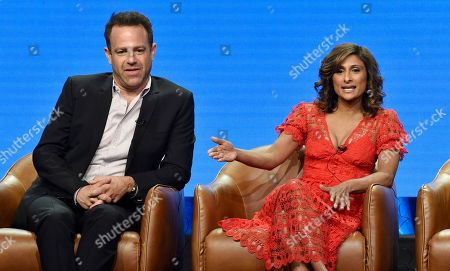 "Paul Adelstein, Sarayu Blue. Sarayu Blue, right, a cast member in the NBC Universal television series ""I Feel Bad,"" answers a question as fellow cast member Paul Adelstein looks on during the 2018 Television Critics Association Summer Press Tour, in Beverly Hills, Calif"