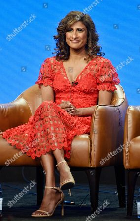 "Sarayu Blue, a cast member on the NBC Universal television series ""I Feel Bad,"" takes part in a q&a session during the 2018 Television Critics Association Summer Press Tour, in Beverly Hills, Calif"