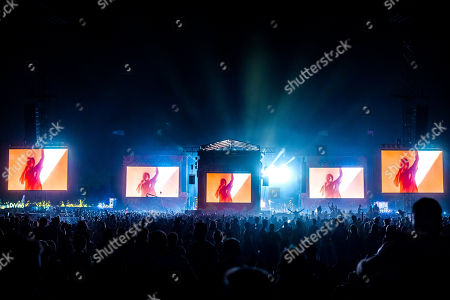 Festival goers attend the concert of American rapper Kendrick Lamar on the first day of the 26th Sziget (Island) Festival on Shipyard Island, Northern Budapest, Hungary, 08 August 2018, (issued 09 August 2018). The Sziget Festival is one of the biggest cultural events of Europe offering art exhibitions, theatrical and circus performances and above all music concerts.