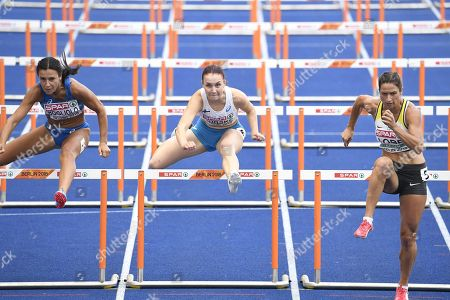 Luminosa Bogliolo of Italy, Reetta Hurske of Finland and Ricarda Lobe of Germany during Women's 100m Hurdles Qualification