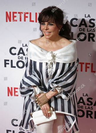 "Mexican actress Veronica Castro poses for photos during a red carpet event promoting the Netflix series ""La Casa de las Flores"" in Mexico City"