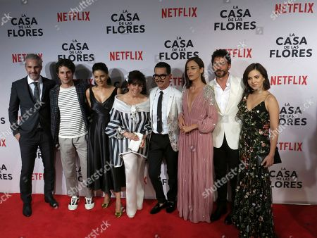 "The cast and director of the Netflix series ""La Casa de las Flores"" pose for photos during a red carpet event promoting the series in Mexico City, . From left are actors Juan Pablo Medina, Dario Yazbek, Aislinn Derbez and Veronica Castro, Director Manolo Caro, and actors Cecilia Suarez, Paco de Leon and Sherlyn Rubio"