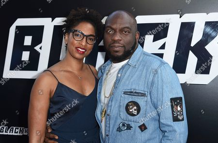 """Conisha Wade, Omar Dorsey. Conisha Wade, left, and Omar Dorsey arrive at the premiere of """"BlacKkKlansman"""", at the Samuel Goldwyn Theater in Beverly Hills, Calif"""
