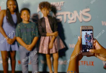 Miley Justine Simmons, Maceo Smedley, Leah Rose Randall. Miley Justine Simmons, from left, Maceo Smedley, and Leah Rose Randall are seen at Netflix's All About the Washingtons Premiere Party at Madera Kitchen on in Los Angeles