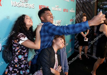 Kiana Ledé, Nathan Anderson, Leah Rose Randall. Kiana Ledé, from left, Nathan Anderson and Leah Rose Randall take a selfie at Netflix's All About the Washingtons Premiere Party at Madera Kitchen on in Los Angeles