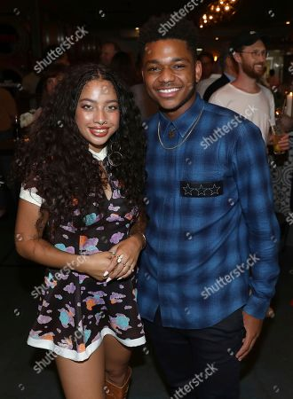 Kiana Ledé, Nathan Anderson. Kiana Ledé, left, and Nathan Anderson are seen at Netflix's All About the Washingtons Premiere Party at Madera Kitchen on in Los Angeles