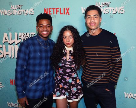 Nathan Anderson, Kiana Ledé, Marcus Scribner. Nathan Anderson, from left, Kiana Ledé and Marcus Scribner are seen at Netflix's All About the Washingtons Premiere Party at Madera Kitchen on in Los Angeles