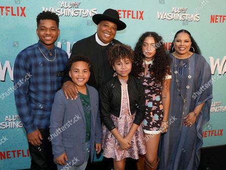 Nathan Anderson, Maceo Smedley, Joseph Simmons, Leah Rose Randall, Kiana Ledé, Justine Simmons. Nathan Anderson, from left, Maceo Smedley, Joseph Simmons, Leah Rose Randall, Kiana Ledé and Justine Simmons are seen at Netflix's All About the Washingtons Premiere Party at Madera Kitchen on in Los Angeles