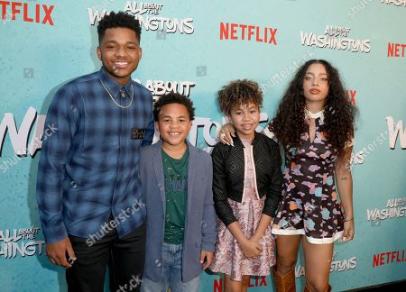 Nathan Anderson, Maceo Smedley, Leah Rose Randall, Kiana Ledé. Nathan Anderson, from left, Maceo Smedley, Leah Rose Randall and Kiana Ledé are seen at Netflix's All About the Washingtons Premiere Party at Madera Kitchen on in Los Angeles