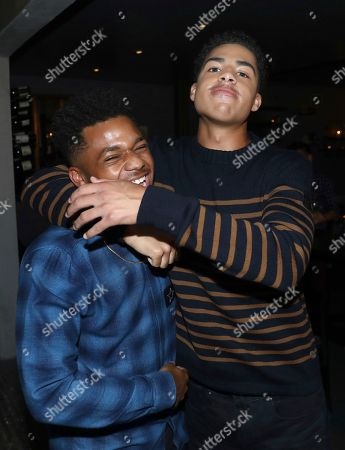 Stock Image of Nathan Anderson, Marcus Scribner. Nathan Anderson, left, and Marcus Scribner are seen at Netflix's All About the Washingtons Premiere Party at Madera Kitchen on in Los Angeles