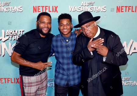 Anthony Anderson, Nathan Anderson, Joseph Simmons. Anthony Anderson, from left, Nathan Anderson and Joseph Simmons are seen at Netflix's All About the Washingtons Premiere Party at Madera Kitchen on in Los Angeles