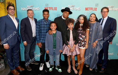 Jeremy Bronson, Ted Sarandos, Nathan Anderson, Maceo Smedley, Joseph Simmons, Leah Rose Randall, Kiana Ledé, Justine Simmons, Andrew Reich. Jeremy Bronson, from left, Ted Sarandos, chief content officer for Netflix, Nathan Anderson, Maceo Smedley, Joseph Simmons, Leah Rose Randall, Kiana Ledé, Justine Simmons and Andrew Reich are seen at Netflix's All About the Washingtons Premiere Party at Madera Kitchen on in Los Angeles