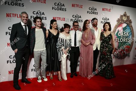 From the left: The cast of Netflix's new production 'La Casa de las Flores' (The House of Flowers) Juan Pablo Medina, Dario Yazbek, Aislinn Derbez, Veronica Castro, director Manolo Caro, Cecilia Suarez, Paco de Leon and Sheryl Rubio, pose during the presentation of the series, in Mexico City, Mexico, 08 August 2018. The premier of the Mexican production, created by director Manolo Caro and which addresses topics such as homosexuality and the recreational use of marijuana, will be on 10 August on the Netflix platform.