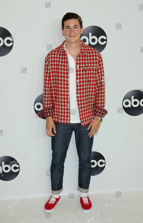 Sam Lerner arrives at the Disney/ABC 2018 Television Critics Association Summer Press Tour at the Beverly Hilton, in Beverly Hills, Calif