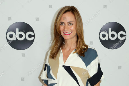 Diane Farr arrives at the Disney/ABC 2018 Television Critics Association Summer Press Tour at the Beverly Hilton, in Beverly Hills, Calif