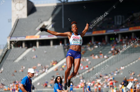 Britain's Shara Proctor makes an attempt in the women's long jump qualification at the European Athletics Championships at the Olympic stadium in Berlin, Germany