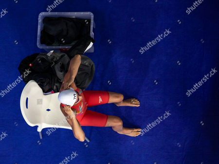 Pernille Blume of Denmark prepares herself before competing in the women's 4x100m Medley Relay Heats at the Glasgow 2018 European Swimming Championships, Glasgow, Britain, 09 August 2018.