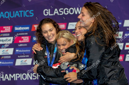 (L-R) Mie OE. Nielsen, Pernille Blume, Rikke Moeller Pedersen and Emilie Beckmann of Denmark celebrate with their silver medals after finishing second in the women's 4x100m Medley Relay Final at the Glasgow 2018 European Swimming Championships, Glasgow, Britain, 09 August 2018.