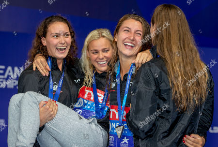 (L-R) Mie OE. Nielsen, Pernille Blume, Emilie Beckmann and Rikke Moeller Pedersen of Denmark celebrate with their silver medals after finishing second in the women's 4x100m Medley Relay Final at the Glasgow 2018 European Swimming Championships, Glasgow, Britain, 09 August 2018.
