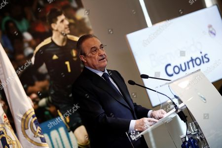 Real Madrid's president Florentino Fernandez gives a speech during the presentation of Belgian Thibaut Courtois as Real Madrid's goalkeeper at Santiago Bernabeu stadium in Madrid, Spain, 09 August 2018.