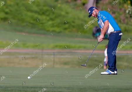 Andy Sullivan of England on the third green during the first round of the 100th PGA Championship golf tournament at Bellerive Country Club in St. Louis, Missouri, USA, 09 August 2018.