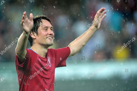 Stock Picture of Former Arsenal midfielder Tomas Rosicky officially ends his professional playing career at the friendly soccer match at Letna Stadium.