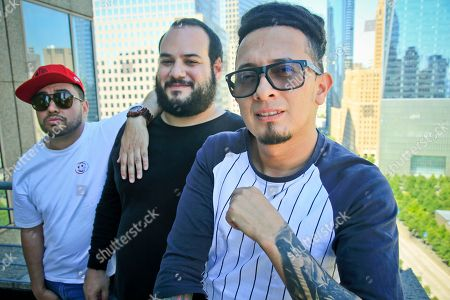 "Andres Cardenas, from left, Sebastian Corcione and Miguel Pinzon, members of the Colombian DJ collective El Freaky, pose during a visit to New York. On Friday, the group will release""NMF,"" the first single of its first album under a major label, Universal/Aftercluv. Their album ""Diabloh,"" which includes collaborations with Juanes, De La Ghetto, Shaggy, Jowell & Randy, among other artists, will be released in October"