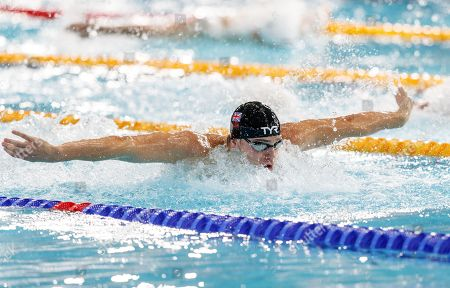 James Guy of Great Britain swims the butterfly leg of the Men's 4x100m Medley Relay Final.