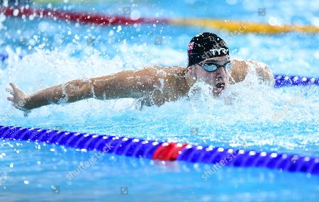 James Guy of Great Britain competes in the Men's 100m Butterfly Final.