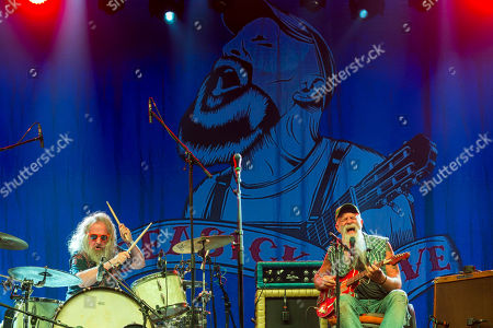 American blues musician Seasick Steve (R) and drummer Dan Magnusson perform live on the second day of the 26th Sziget (Island) Festival on Shipyard Island, northern Budapest, Hungary, 09 August 2018. The Sziget Festival is one of the biggest cultural events of Europe offering art exhibitions, theatrical and circus performances and above all music concerts.