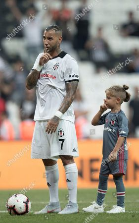 Besiktas' Ricardo Quaresma and his son cheers their fans after the UEFA Europa League third round qualifying match between Besiktas Istanbul and LASK Linz in Istanbul, Turkey, 09 August 2018.