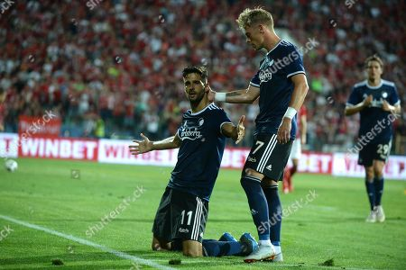 Kenan Kodro (L) and Viktor Fischer (R) from the team of FC Kobenhavn celebrates after second goal against the team of CSKA-Sofia during the UEFA Europa League third qualifying round, 1-st leg soccer match between CSKA-Sofia and FC Kobenhavn in Sofia, Bulgaria, 09 August 2018.