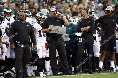 Philadelphia Eagles head coach Doug Pederson calls a play during the first  half of a preseason ... a5799e680