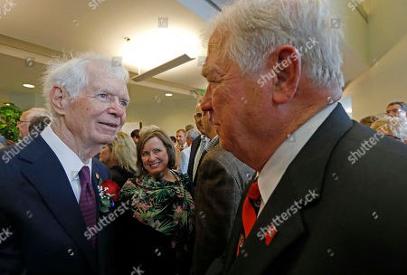 Stock Photo of Thad Cochran, Haley Barbour. Former Republican U.S. Sen. Thad Cochran, left, greets former Republican Gov. Haley Barbour following the naming ceremony of the Thad Cochran United States Courthouse in downtown Jackson, Miss