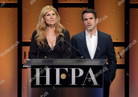Connie Britton, Chris Messina. Connie Britton, left, and Chris Messina speak at the Hollywood Foreign Press Association Grants Banquet at The Beverly Hilton hotel, in Beverly Hills, Calif