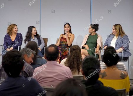 Nina Tassler, Justina Machado, Gloria Calderón Kellett, Melissa Barrera, Mishel Prada, Tanya Saracho. EXCLUSIVE -Television Academy Foundation board member, Nina Tassler, from left, Justina Machado, Gloria Calderón Kellett, Melissa Barrera, Mishel Prada and Tanya Saracho take part in the panel discussion THE POWER OF TV: Latinx Inclusion, co-presented by the Television Academy Foundation, Netflix, STARZ, and h Club Los Angeles on in North Hollywood, Calif. The event assembled Latinx leaders in the television industry to discuss career paths to success, the challenges of advocating for inclusivity, as well as onscreen and behind-the-scenes opportunities