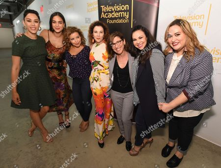Mishel Prada, Melissa Barrera, Justina Machado, Madeline Di Nonno, Nina Tassler, Gloria Calderón Kellett, Tanya Saracho. Mishel Prada, from left, Melissa Barrera, Justina Machado, Madeline Di Nonno, chair of the Television Academy Foundation, Nina Tassler, Gloria Calderón Kellett and Tanya Saracho take part in the panel discussion THE POWER OF TV: Latinx Inclusion, co-presented by the Television Academy Foundation, Netflix, STARZ, and h Club Los Angeles on in North Hollywood, Calif. The event assembled Latinx leaders in the television industry to discuss career paths to success, the challenges of advocating for inclusivity, as well as onscreen and behind-the-scenes opportunities