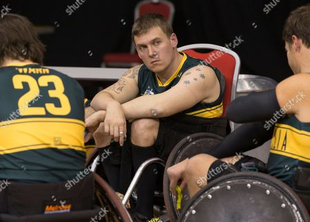 Andrew Harrison of Australia reacts following the Gold Medal match between Australia and Japan during the GIO 2018 International Wheelchair Rugby Federation World Championships at the Quaycentre in Sydney, Australia, 10 August 2018. The championship will run from 05 August to 10 August 2018.