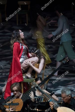 Sonya Yoncheva as Poppea (L)  and Kate Lindsey as Nerone (R) perform on stage during a rehearsal of the opera 'L' incoronazione di Poppea' in Salzburg, Austria, 09 August 2018. Claudio Monteverdi's opera production will be staged at the Salzburg Festival, which runs from 20 July to 30 August 2018.