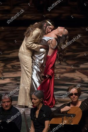 Kate Lindsey as Nerone (L) and Sonya Yoncheva as Poppea (R)  perform on stage during a rehearsal of the opera 'L' incoronazione di Poppea' in Salzburg, Austria, 09 August 2018. Claudio Monteverdi's opera production will be staged at the Salzburg Festival, which runs from 20 July to 30 August 2018.