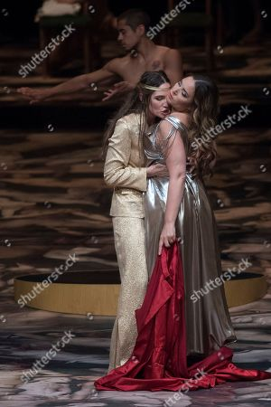 Stock Picture of Kate Lindsey as Nerone (L) and Sonya Yoncheva as Poppea (R)  perform on stage during a rehearsal of the opera 'L' incoronazione di Poppea' in Salzburg, Austria, 09 August 2018. Claudio Monteverdi's opera production will be staged at the Salzburg Festival, which runs from 20 July to 30 August 2018.