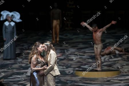 Stock Photo of Sonya Yoncheva as Poppea (L)  and Kate Lindsey as Nerone (R) perform on stage during a rehearsal of the opera 'L' incoronazione di Poppea' in Salzburg, Austria, 09 August 2018. Claudio Monteverdi's opera production will be staged at the Salzburg Festival, which runs from 20 July to 30 August 2018.