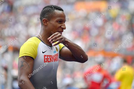 Germany's Raphael Holzdeppe who didn't set a mark in the men's pole vault qualification gestures at the European Athletics Championships at the Olympic stadium in Berlin, Germany